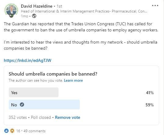 umbrella companies LinkedIn poll results